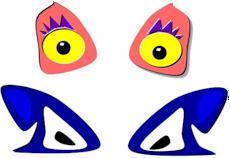Print and glue faces for pumpkins. KinderArt.com