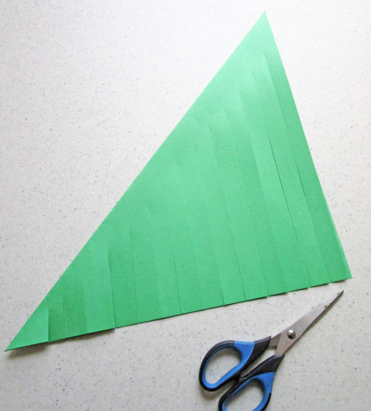 Cut strips into paper.