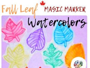 Fall Leaf Magic Marker Watercolors Lesson Plan KinderArt.com