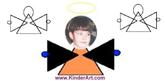 Geometric Angel Craft. KinderArt.com