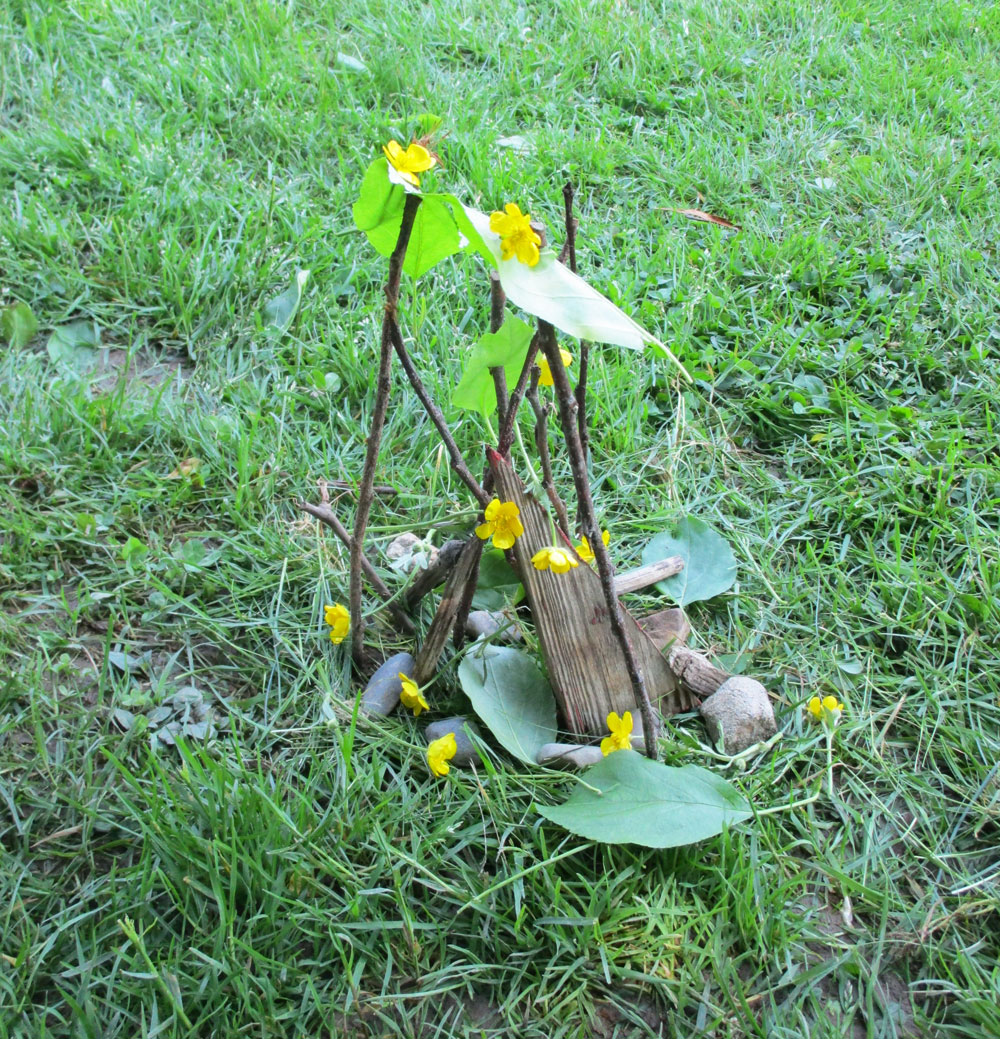 Make a sculpture using natural materials.