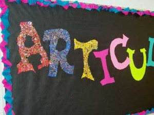 ARTiculate bulletin board idea.