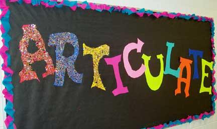 ARTiculate bulletin board idea.