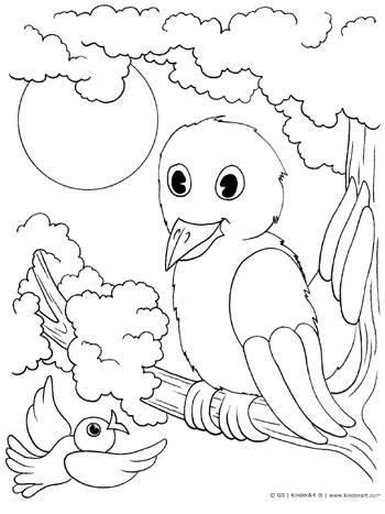 Bird in a tree coloring page. KinderArt.com