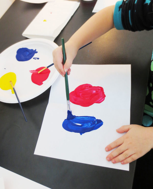 Add blue paint. KinderArt.com