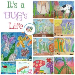 Students will create an original crayon resist drawing or painting of a bug's life. KinderArt.com