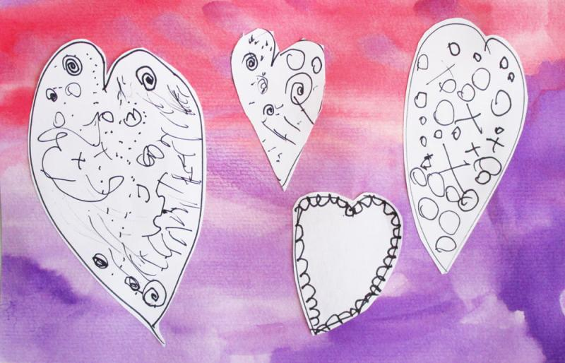 Mixed media Valentine's Day cards.