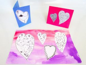 Make mixed media Valentine's Day cards.