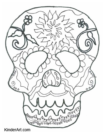 Calavera Day Of The Dead Coloring Page Kinderart