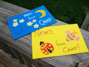 Postcards from summer camp craft.