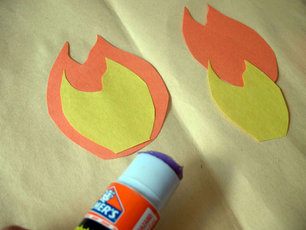 Glue the fire patterns together.
