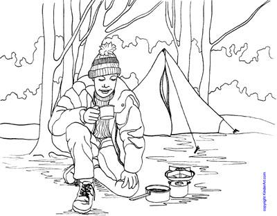 Camping coloring page. KinderArt.com
