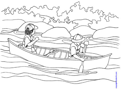 canoe coloring pages | Canoe Coloring Page – KinderArt