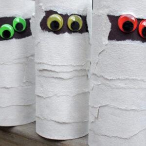 Cardboard tube mummies craft for kids.