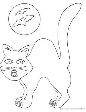 Scary Halloween Cat Coloring Page