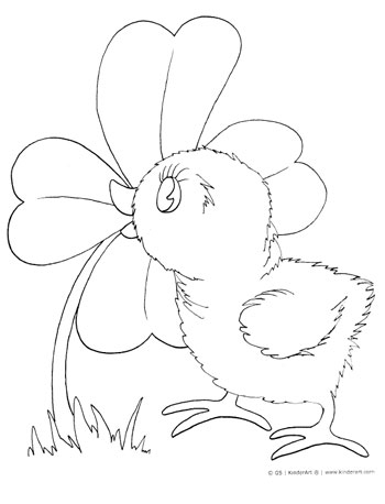 baby chick coloring page — kinderart