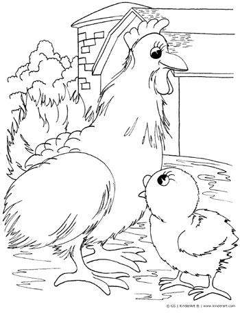 Hen and chick coloring page. KinderArt.com