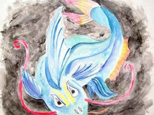 Chinese dragon watercolor painting