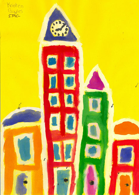 city block painting - Painting Picture For Kids
