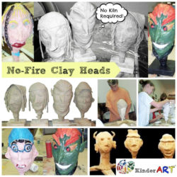 No Fire Clay Heads Art Lesson from KinderArt.com