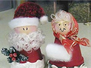 Clay Pot Santa and Mrs. Claus craft.