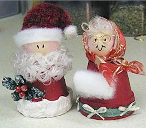 Clay Pot Santa and Mrs. Claus craft.