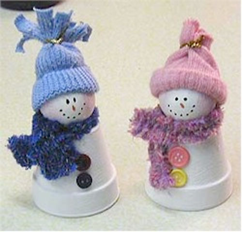 Clay Pot Snowpeople Craft.