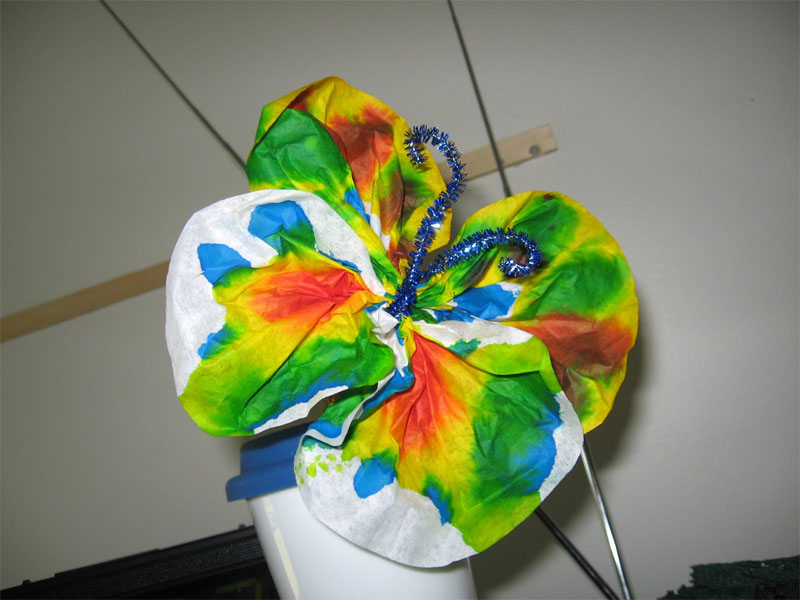 Coffee filter butterflies craft.