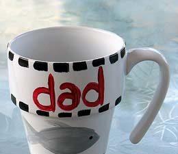 Paint a Coffee Mug for Dad. Craft by KinderArt.com
