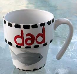 Paint a Coffee Mug for Dad. Craft by KinderArt.com