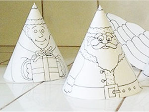 Holiday cone friends printable craft for kids.