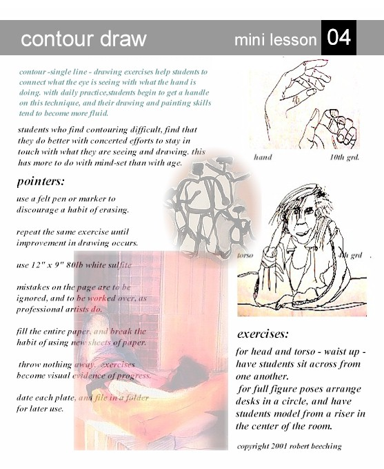 Contour Line Drawing Lesson Plan Middle School : Contour drawing warm up lessons for kids kinderart