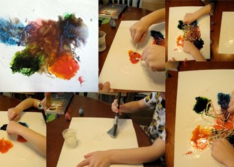 Mixing colors with corn syrup and food coloring.