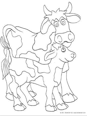 Cow and calf coloring page. KinderArt.com