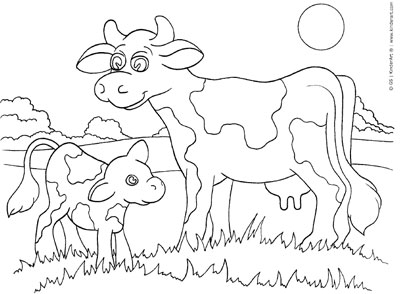Cow and Calf Coloring Page KinderArt
