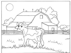 Cow and barn coloring page. KinderArt.com