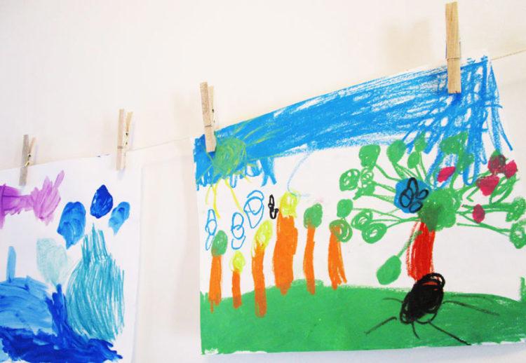 Displaying kids art.