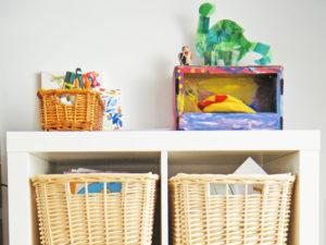Store art supplies and artwork where kids can reach them.