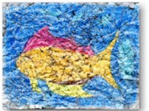 crayon crackle painting