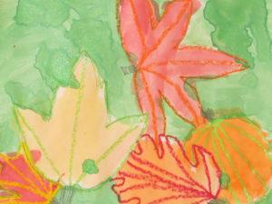 Crayon Resist Fall Leaves. KinderArt.com