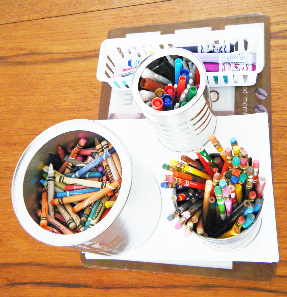 Gather a variety of art supplies.