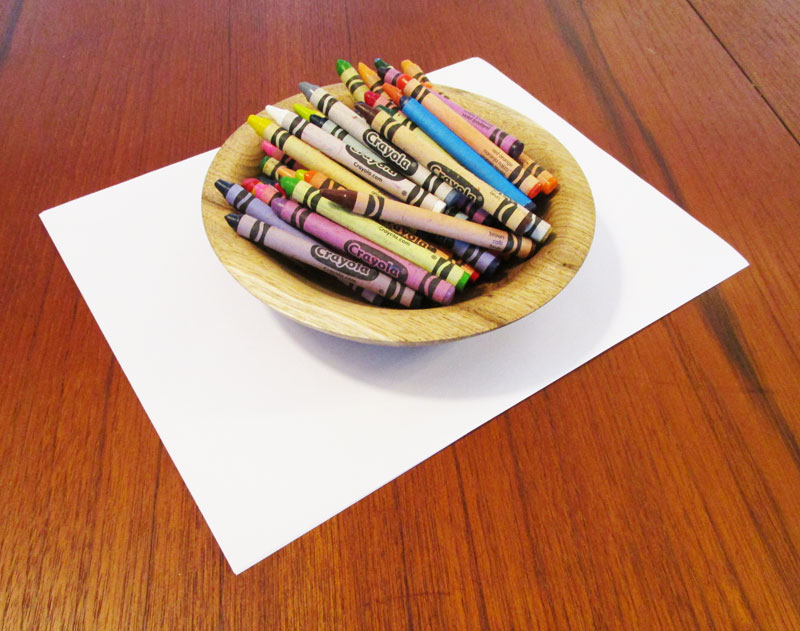 Crayons and paper.
