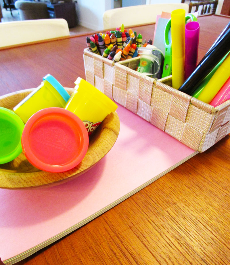 Art supplies on a table.