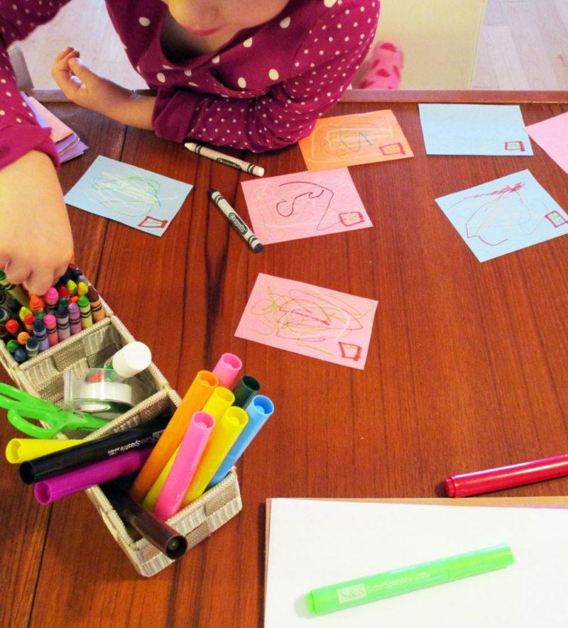 Child making art.