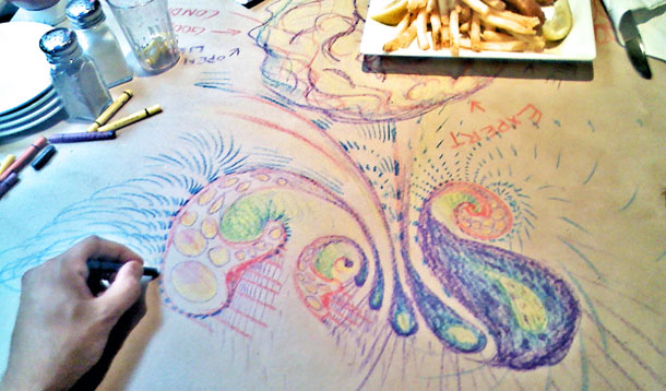Drawing on a restaurant table.