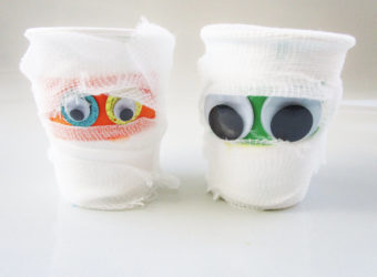 Paper cup mummy craft. KinderArt.com
