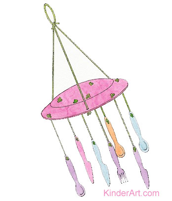 Recycled cutlery wind chimes  sc 1 st  KinderArt.com & Cutlery Wind Chimes Lesson Plan: Recycling for Kids - KinderArt