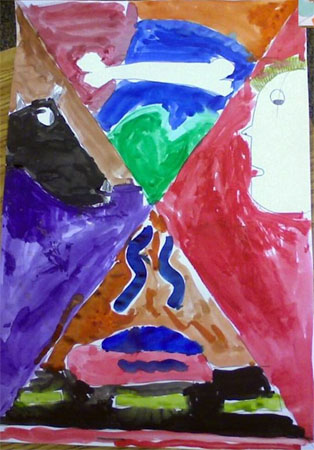 Student work inspired by Marc Chagall's I and the Village painting.