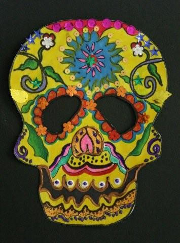 Day of the dead calavera skull masks multicultural art for Day of the dead arts and crafts