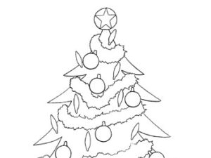 Christmas tree coloring page. KinderArt.com